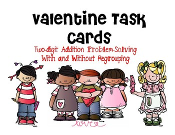 Valentine Task Cards: Two-Digit Addition
