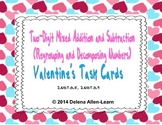 Valentine Task Cards-Two Digit Addition and Subtraction