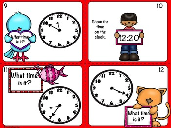 Valentine Telling Time to the 5 Minute Interval Task Cards and Matching Game