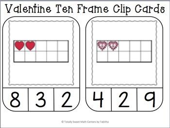 Valentine Ten Frame Clip Cards
