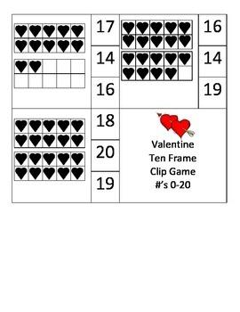 Valentine Ten Frame Clip Game