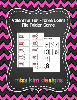 Valentine Ten Frame Count File Folder Game for Early Childhood Special Education