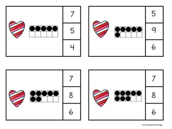 Valentine Ten Frame Count and Clip Cards