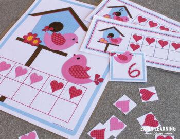 Valentine's Day Math Activity: Valentine Ten Frame Match