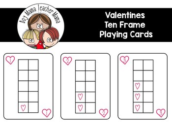 Valentine Themed Ten Frame Playing Cards
