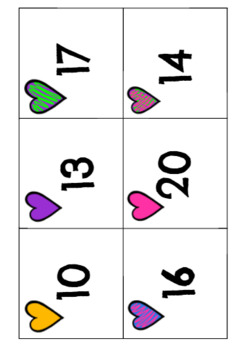 Valentine Ten Frame Scoot with Teen Numbers