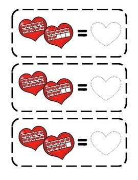 Valentines Day Math Centers Ten Frames (1-20) February