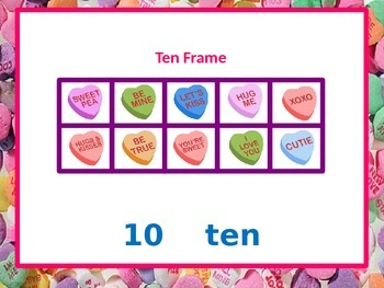Valentine Ten Frames (10 - 20) with Student Worksheet
