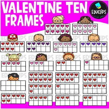 Valentine Ten Frames Clip Art Bundle {Educlips Clipart}