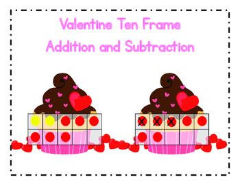 Valentine Ten Frames Addition and Subtraction