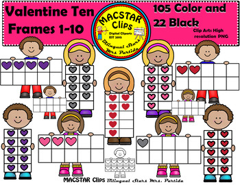 Valentine Ten Frames Clip Art Personal and Commercial Use 127 images Hearts