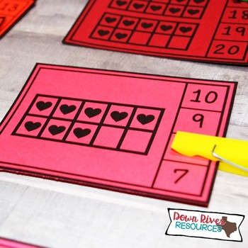 Valentine Ten Frames Counting Clip Cards 1-20 | English & Spanish Math