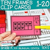 Valentine Ten Frames Counting Clip Cards 1-20   English & Spanish Math