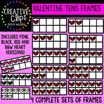 Valentine Tens Frames {Creative Clips Digital Clipart}