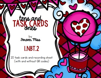 Valentine Tens and Ones Task Cards with/without QR Codes