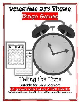 Valentine Theme - Telling Time, 3 Full Bingo Games