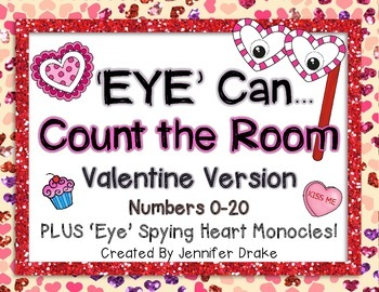 Valentine Theme **Count The Room** Numbers 0-20; 'Eye' Spy With Heart Monocles!