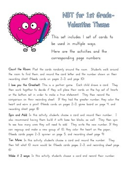Valentine Theme Place Value practice for 1st Grade