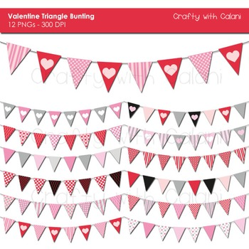 Valentine Theme Triangle Pennant Bunting Clip Art Set