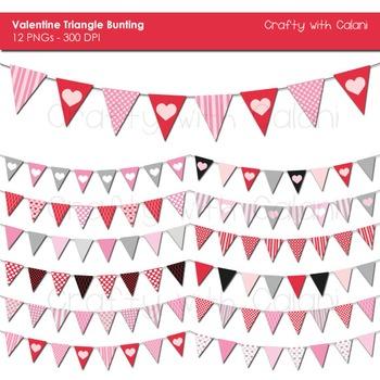 Valentine Theme Triangle Pennant Bunting Clip Art Set