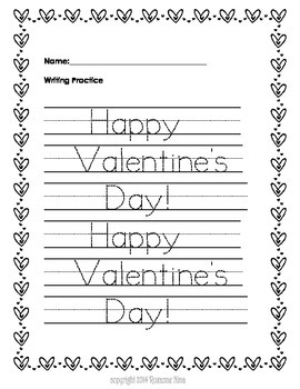 Valentine Day Theme Worksheets
