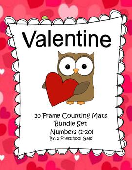 Valentine 10 Frame Counting Mats Bundle Set (1-20)