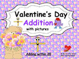 Valentine Themed Addition with Pictures (adding within 20):
