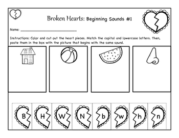 Valentine-Themed Beginning Sound Practice Pages (Cut & Paste)
