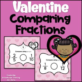 Valentine-Themed Comparing Fractions Task Cards & BONUS Valentine Bookmarks