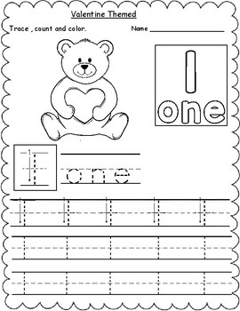 Valentine Themed Count, Trace & Color Numbers 1-10