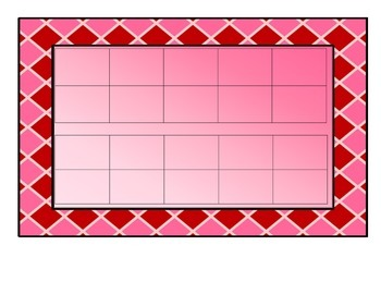 Valentine Themed Double Ten Frames and Number Cards