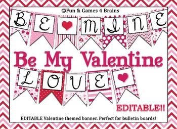 Valentine Themed Editable Bulletin Board Banner