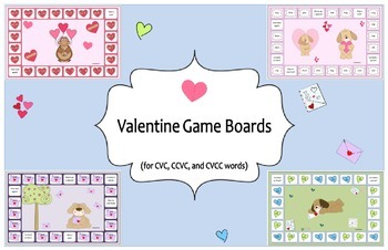 Valentine Themed Game Boards for CVC, CCVC, and CVCC Words