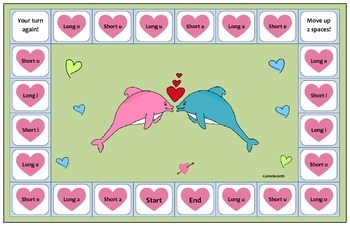 Valentine Themed Game Boards for Short and Long Vowel Sounds