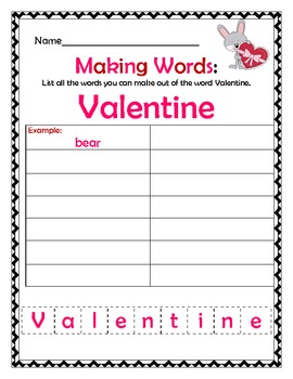 Valentine Themed Making Words!