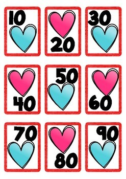 Valentine Themed Number Cards 1-100