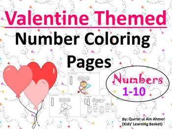 Valentine Themed Number Coloring Worksheets: