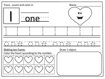 Valentine Themed Number Practice Pages (1- 20):
