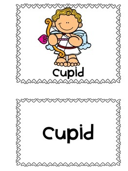 Valentine Themed Pocket Chart Pictures & Word Cards