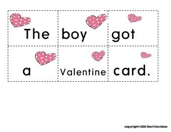 Valentine Themed Scrambled Sentences