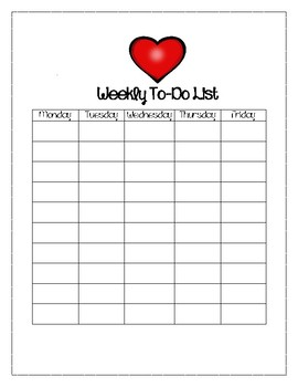 Valentine Themed Weekly To-Do List
