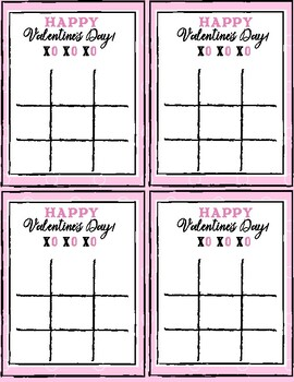 Valentine Tic-Tac-Toe Game and Valentine Gift Tag Light Pink