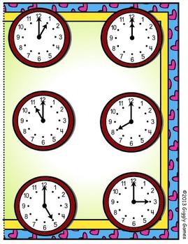 Valentine Time Hour File Folder Game