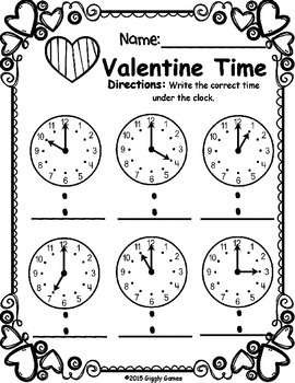Valentine Time Hour Worksheet