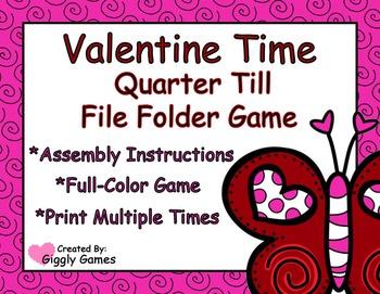 Valentine Time Quarter Till File Folder Game
