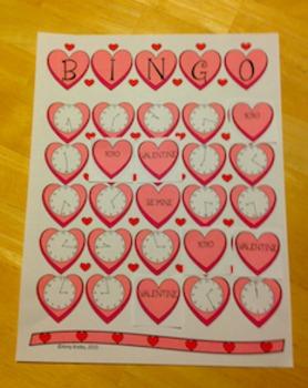 Valentine Clock Bingo (Time Bingo) - Time to the Minute