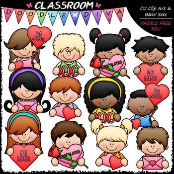 Valentine Topper Kids Clip Art - Valentine's Day Clip Art & B&W Set