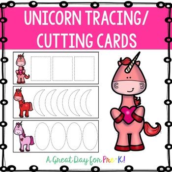 Unicorn Tracing/Cutting Cards for Preschool, Prek, and Kindergarten