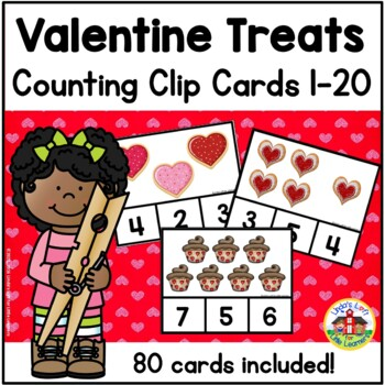 Valentine Treats Count and Clip Cards 1-10