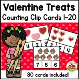 Valentine's Day Treats Count and Clip Cards 1-20